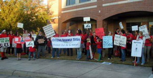 Protesters outside a public hearing on the Titan air permit.
