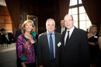 """Peter Benchley Ocean Awards co-founder, Wendy Benchley, """"Hero of the Seas"""" Award winner, Todd Miller (center), and National Stewardship Award winner, Prince Albert II of Monaco at the 2015 Ocean Awards ceremony in Washington D.C."""