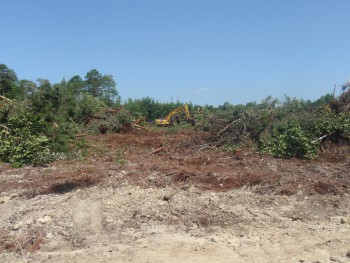 Example of the work that has begun to create a borrow site for the hydrologic restoration.