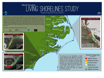 The map above highlights projects at Jockey's Ridge State Park and Morris Landing Clean Water Preserve that are part of Mariko's winning study.