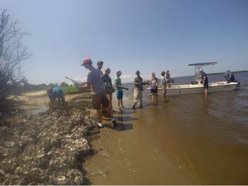 Summer S.T.E.M. Camp, Restoring Oysters, participants add another layer to oyster reef in Cape Fear River