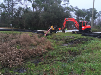 Work to drain the pond in front of Cape Carteret Presbyterian Church began the first week in January.