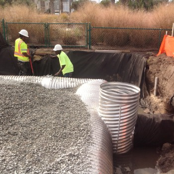 The lula street project disconnects street drains carrying polluted stormwater directly into Banks Channel, and allows the water to instead be held and slowly filtered into the sandy soils on the property.