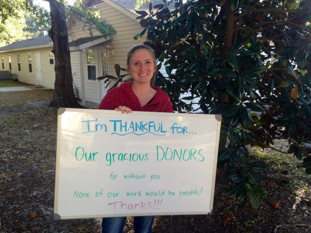 "Brittany Ellenberger, finance manager, is thankful for ""our gracious donors, for without you, none of work would be possible."""