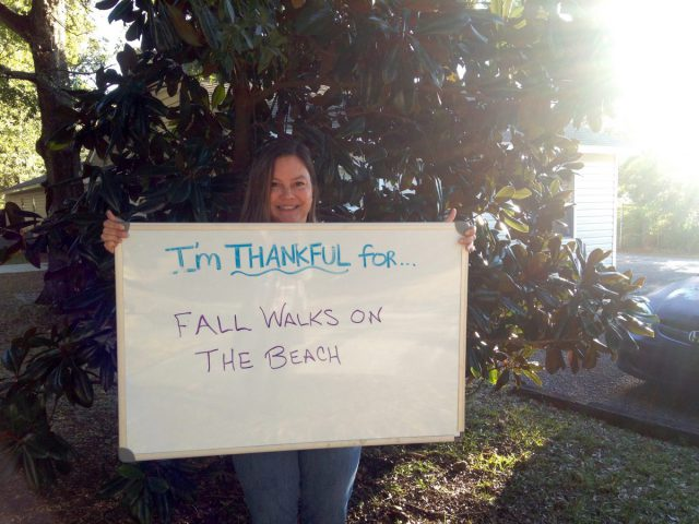 "Christine Miller, assistant director, is thankful for ""fall walks on the beach."""