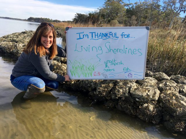 "Lexia Weaver, coastal scientist, is thankful for ""living shorelines."""