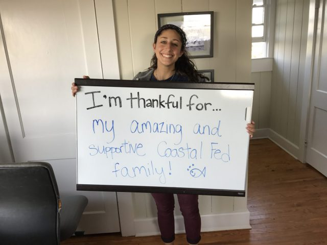 "Nina Quaratella, Americorps member at the Wrightsville Beach office, is thankful for her ""amazing and supportive Coastal Fed family."""