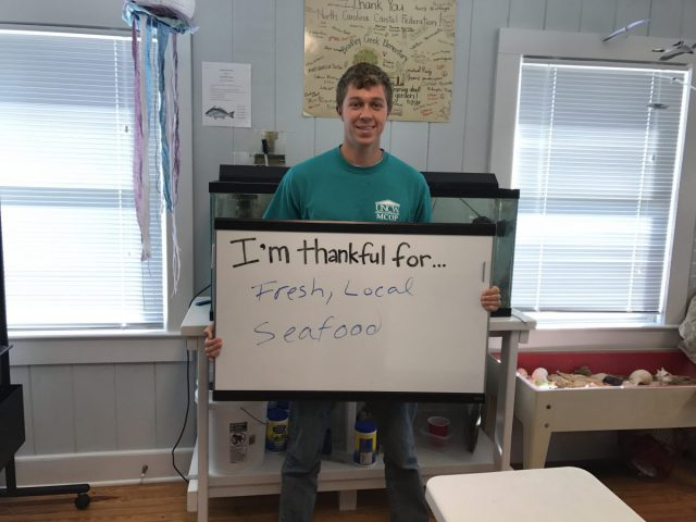 "Nick Krebs, an intern at the Wrightsville Beach office, is thankful for ""fresh, local seafood."""
