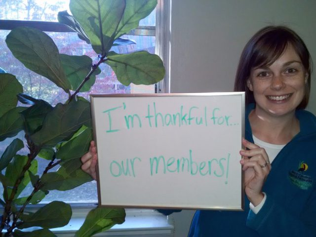 "Kelly Bodie, membership director, is thankful for ""our members."""