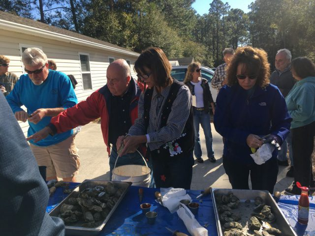 Volunteers, members and supporters enjoyed freshly-steamed oysters at the Ocean office's party.