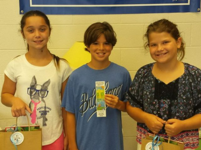 First Flight Elementary (left to right): Reese Kepler (third-place), Jaden Rock (first-place) and Ella Laws (second-place)