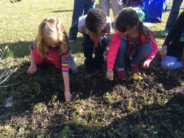Swansboro Elementary first-graders work on the school's rain garden.
