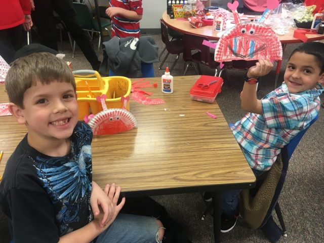 First-graders made crabs on Valentine's Day.