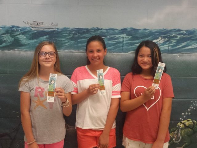 Kitty Hawk Elementary (left to right): Matte Samson (first-place), Caroline Miller (second-place) and May Htut (third-place)