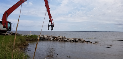 The beginning of construction on the oriental living shoreline in 2020
