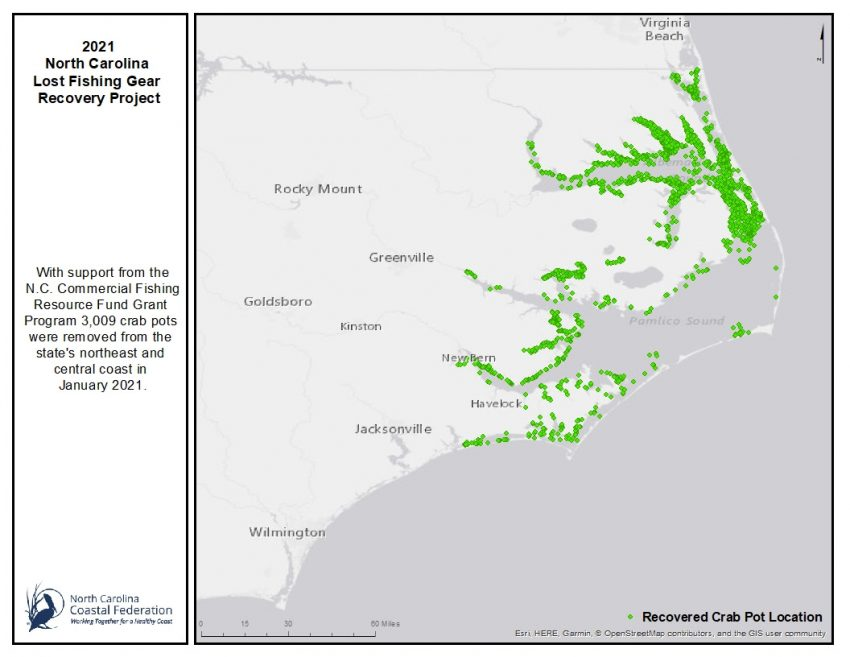 Map of th 2021 North Carolina Lost Fishing Gear Recovery Project