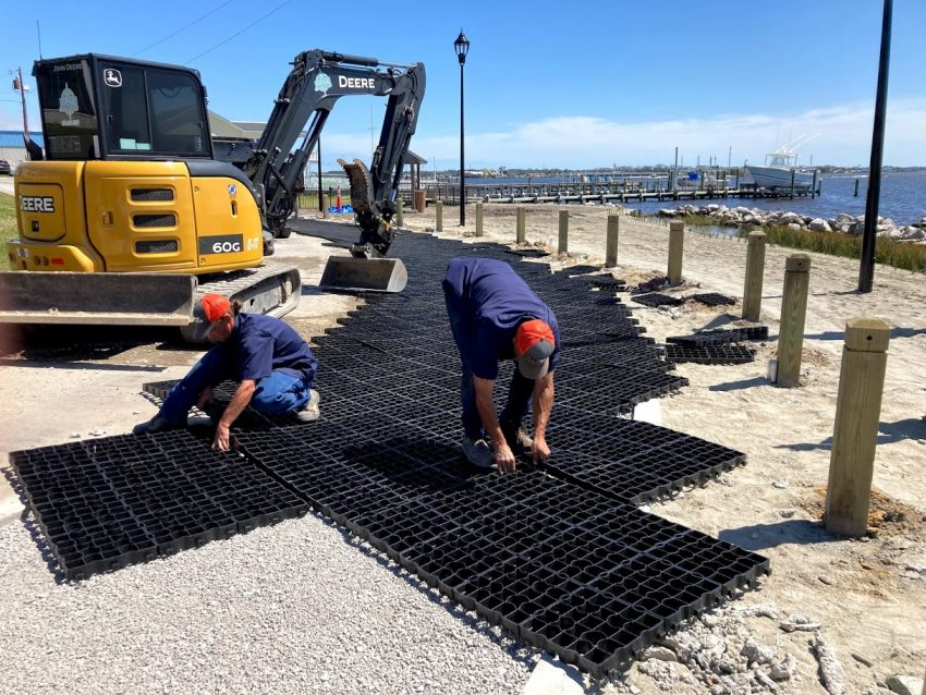 Installation of permeable parking in Swansboro